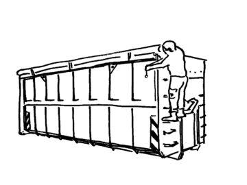 Containerdienst HEG - offener 35 m³ Container mit Mitarbeiter